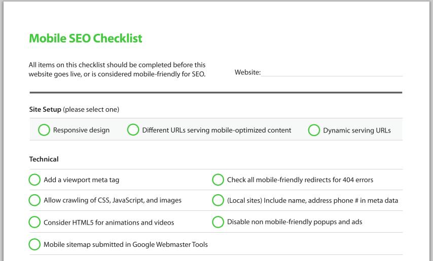 Free Mobile SEO Checklist