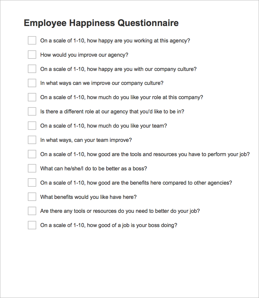 free download  employee happiness questionnaire