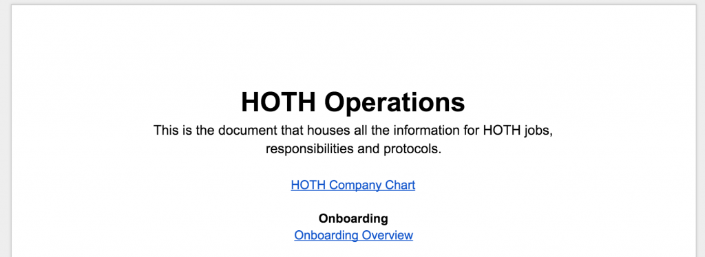 HOTH Operations Document